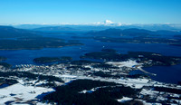 Snowy Friday Harbor with Mt. Baker