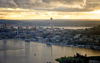 Late Afternoon Space Needle from above Lake Union