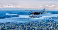 Whale Plane & Mt. Rainier above Seattle